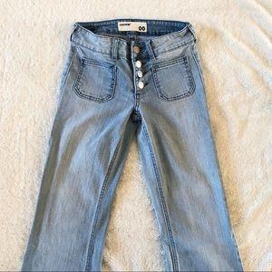 Garage Buttonfly Flare Frayed Hem Jeans Light Wash